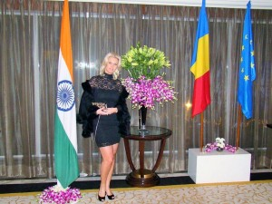Anca Verma with Romanian and Indian national flag on Romanian National Day at Romanian Embassy