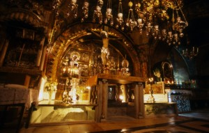 335 A.D., Jerusalem, Israel --- The tomb of Christ, where the body of Jesus was laid to rest, and rose again to heaven. Today, the Eastern Orthodox, Roman Catholic and Armenian Church conduct daily services --- Image by © Gerald French/Corbis
